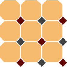 Гранит керамический 4421 OCT20+14-B Ochre Yellow OCTAGON 21/Brick Red 20 + Black 14 Dots 30x30 см