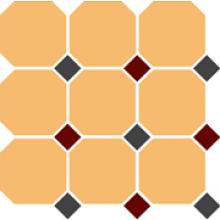 Гранит керамический 4421 OCT14+20-A Ochre Yellow OCTAGON 21/Black 14 + Brick Red 20 Dots 30x30 см